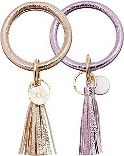 Leather-Keyrings-Tassel Wristlet Keychain-Round Key Chain Wrist Bracelet-Large Circle Keyring Bangle for Women Girls
