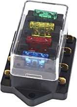 Qiorange UNIVERSAL CAR 4 WAY CIRCUIT ATO STANDARD BLADE FUSE BUILD IN BOX HOLDER 12V/24V + 4 PCS FUSE (Fuse holder 4 Way)