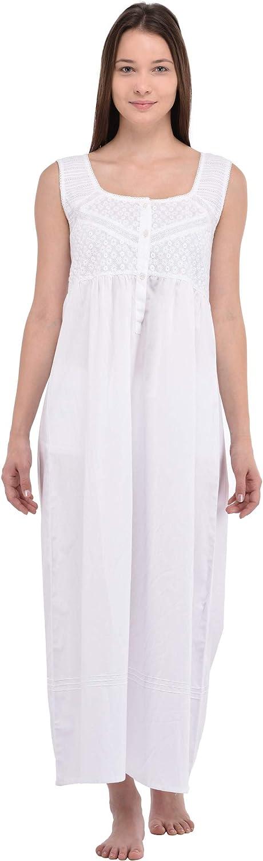 Cotton Lane Ladies Pure Cotton White Sleeveless Nightdress