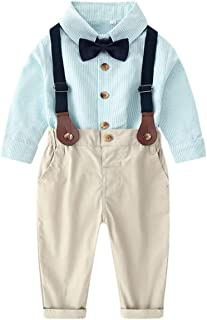 DAIMIDY Baby & Little Boys' T Shirt and Suspender Shorts Set, 12 Months - 6 Years