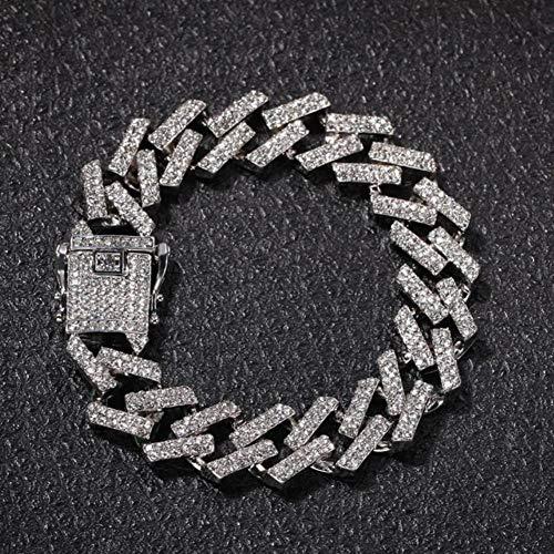 ASIG Heren Armband Volledige Iced Out Strass Prong Cubaanse Link Armbanden Blauw/zwart Multi-gekleurde