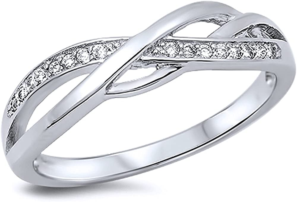 Sterling Silver Round White CZ 5MM Popular shop is the lowest price challenge Anniversary Ring Ranking TOP16 Swirl Band