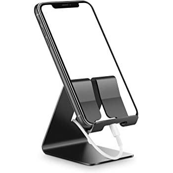 ORIbox Cell Phone Stand, Stand for Office Desk, Aluminum Desktop Solid Universal Desk Stand, Compatible with iPhone 12/11 Pro Max XS Max XR X 8 7 6S Plus SE 2020 12 Mini,Samsung Galaxy