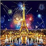 Kit de pintura con diamantes 5D,pinturas diamantes Torre Eiffel bordado de cristal,5d diamond painting para manualidades,punto de cruz diamante decoración de pared de salón de 30 x 30 cm