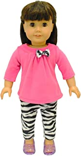 Pink Butterfly Closet Doll Clothes - 2 Piece Clothing Shirt and Zebra Print Leggings Fits American Girl Dolls, Madame Alexander and Other 18