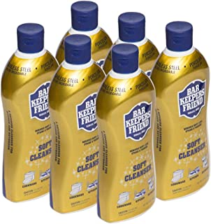 Bar Keepers Friend Soft Cleanser Liquid 13 oz Multipurpose Cleaner & Rust Stain Remover for Stainless Steel Sinks and Countertops, Porcelain and Ceramic Tile, Copper, Brass, and More (6)