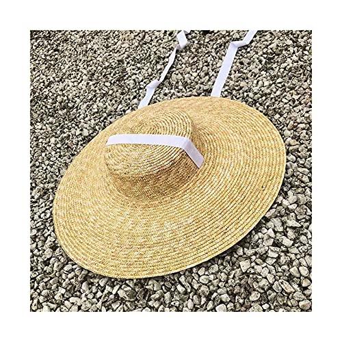 liushop Sombrero para el Sol Mujeres Ancho Sombrero Sombrero de Paja Sombrero Plano Mujer Negro Cinta Corbata Sol Sombrero Gorra de Playa Sombrero de Playa (Color : A, Size : XS)