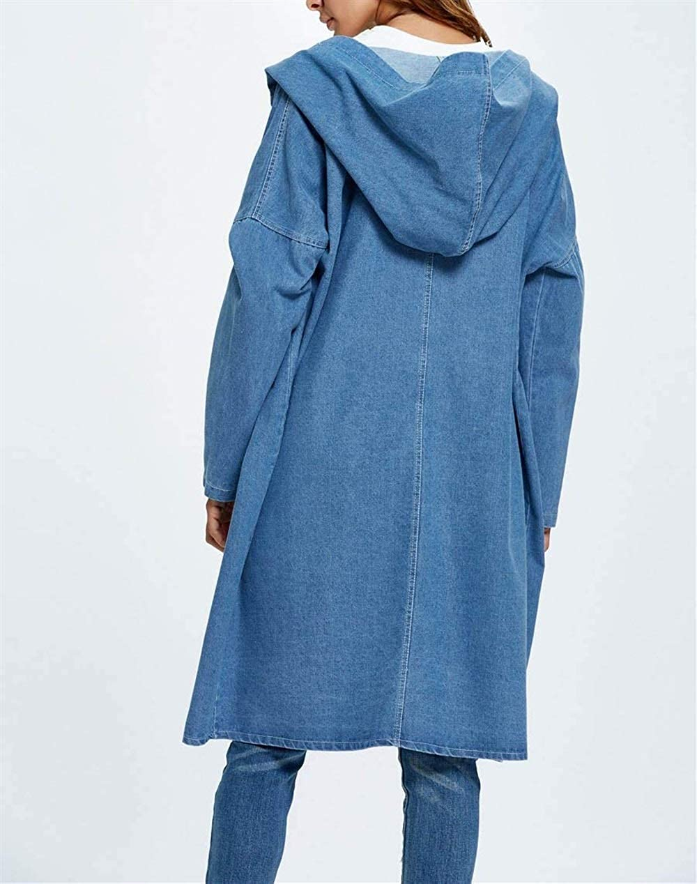 Jeansjacke Damen Lang Elegant Freizeit Mit Kapuze Jeansmantel Mantel Blau Bekleidung Frühling Herbst Relaxed Jungen Trend Mode Longsleeve Coat Outerwear Hellblau