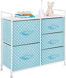mDesign commode à 5 tiroirs – meuble à tiroirs large pour la chambre d'enfant – rangement vêtements avec motif à pois en m...
