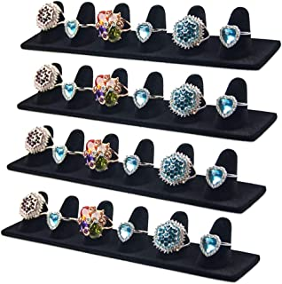 JIFF Black Velvet 6 Finger Ring Showcase Display Jewelry Organizer Stand Jewelry Holder(4 pack-Black, 6 Fingers Ring Showcase)