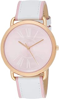 Guess W0032L8 Roman Numerals Round Analog Genuine Leather Watch for Women - White Pink