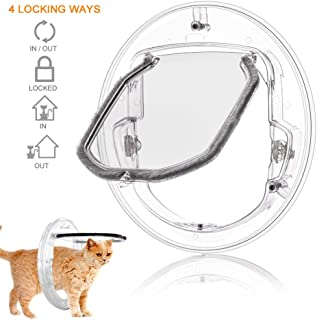 YOUTHINK Cat Flap Door, 4 Way Locking Cat Doors, Small Pet Door for Cats, Small Dogs, Puppy and Doggie, Fits for Sliding Glass Door, Glass Window