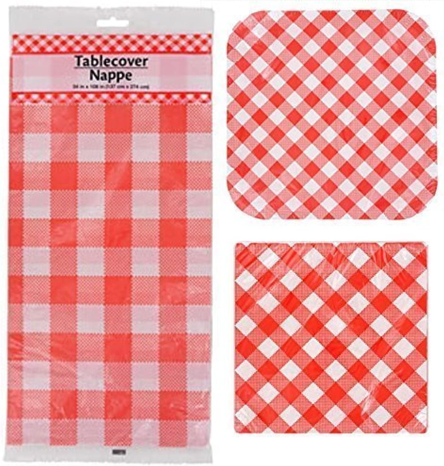 Red Paper Plates and Napkins 14 Count 9  Square Plates, 20 Count 13  Napkins and Table Cover In-33
