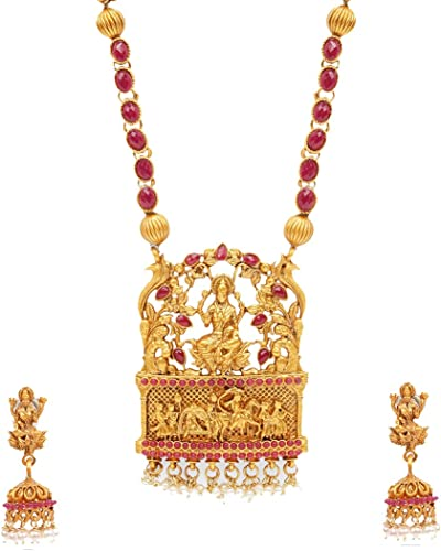 Ethnic Temple Jewellery Set Gold Plated Lakshmi Jewelry Set Traditional Necklace Set For Women Girls