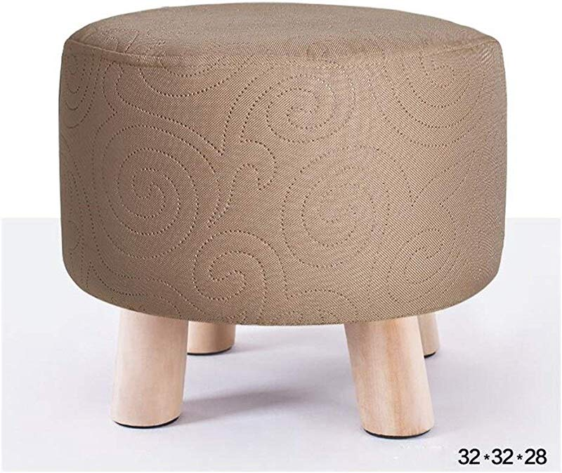 Carl Artbay Wooden Footstool Beige Floral Pattern Fashion Stool Solid Wood Bench Cloth Removable Washable Shoe Stool Home