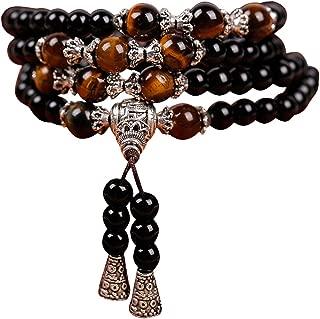 Natural Crystal Obsidian Tiger Eye Beads Elastic Mala Yoga Handmade Necklace Bracelet