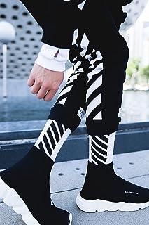922d41633c16c Generic Three pairs of wind Harajuku street hardcover Korean black and  white diagonal stripes slide motion