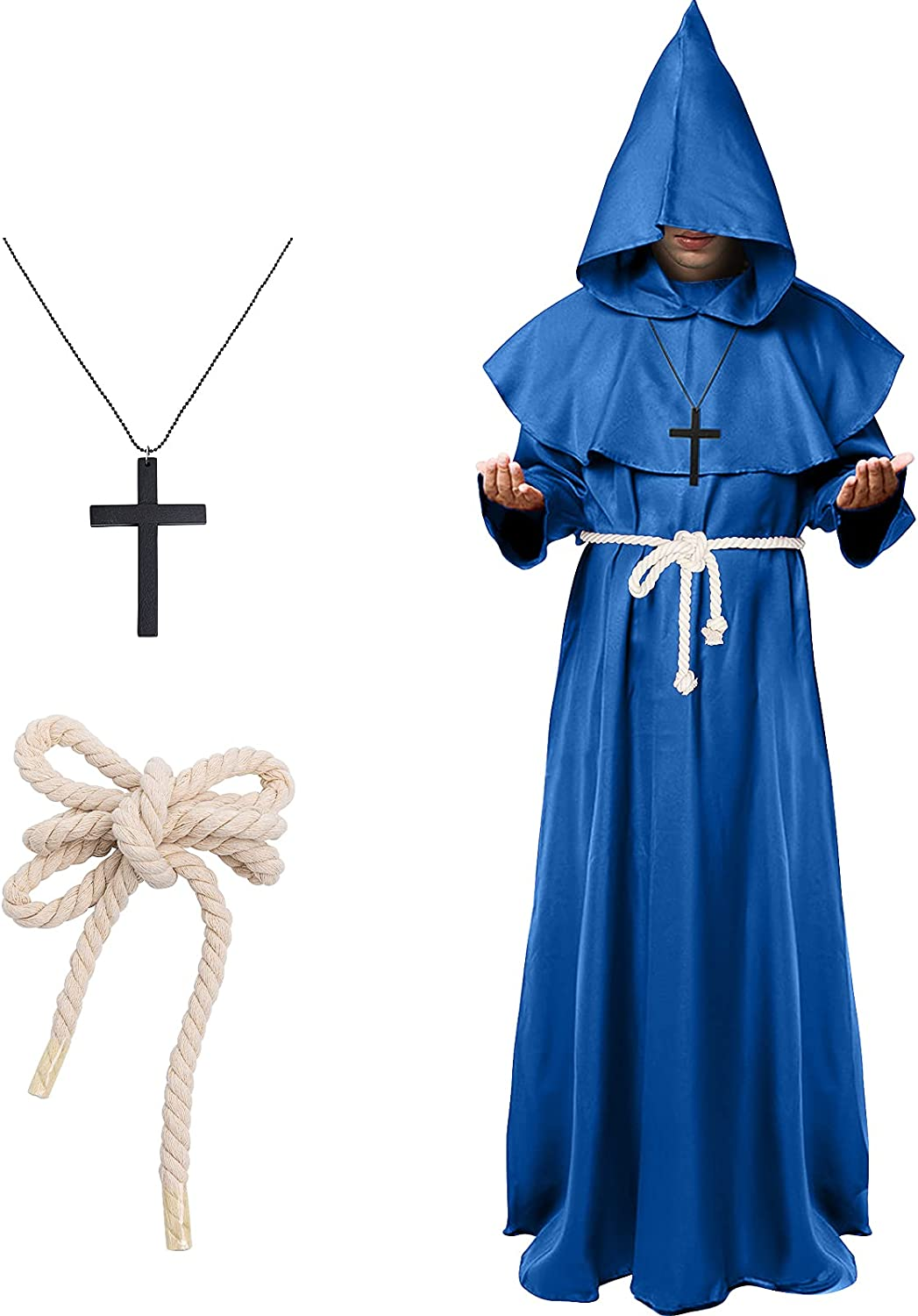 Friar Medieval Renaissance Priest Cheap mail order Max 56% OFF specialty store Monk Cos Hooded Robe Halloween