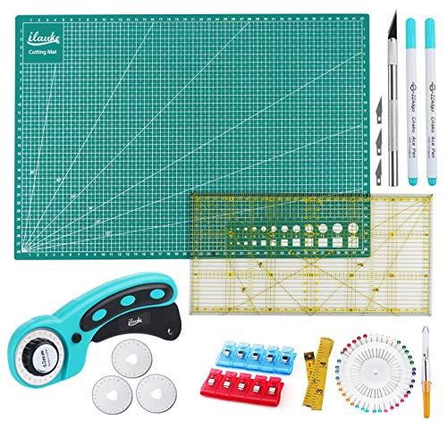 Kit de Cutter Rotatif,Ensemble D'outils avec Cutter Rotatif de 45 mm +Tapis de Découpe A3 D