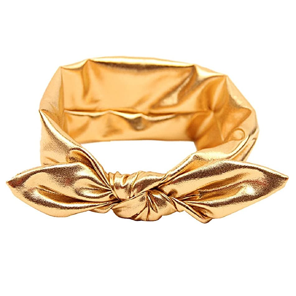 Girls Rabbit Bow Ear Hairband Headband Stretch Turban Knot Tie Head Wraps