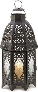 Gifts & Decor Lantern Candle Holder Home Wedding Decor, Black, IRON, GLASS, Brown, 12.7 x 12.7 x 30.5 cm