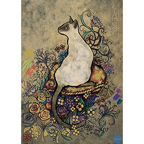 Fascinating Wooden Puzzle Siamese Cat, Big Lazy Cat, Perfect Cut & Fit, 300~1500 Pieces Boxed Basswood Puzzles Jigsaw Game Art Drawing for Adults & Kids (Color : B, Size : 300pc)