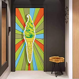 Onefzc Soliciting Sticker for Door Art Hand Drawn Ice Cream on Cone with Colorful Rays Coming Out from The Middle Mural Wallpaper W31 x H79 Lime Green Multicolor