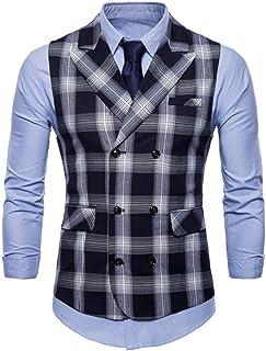 FULIER Men's Suit Vests Lattice Formal Slim Coat Waistcoat Button Wedding Dress Tuxedo Vests