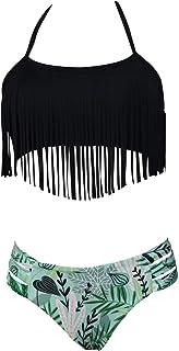 comprar comparacion Bikini Cuello Halter Conjunto Bikinis con Flecos Relleno Mujer Niña Bañador Bandeau Push Up Dos Piezas Natacion Trajes de ...