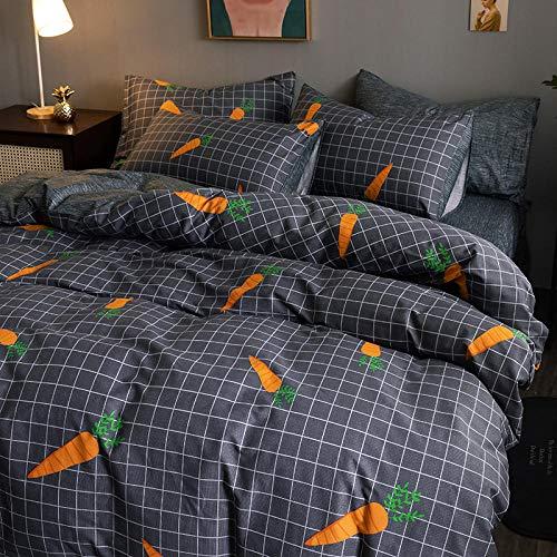 YFGY Fundas de Almohada,Textiles para el hogar Juego de Ropa de Cama Funda nórdica con Juego de Funda de Almohada, Algodón Puro Niños Niños Juegos de rábano Solo 150 * 200cm 3PCS