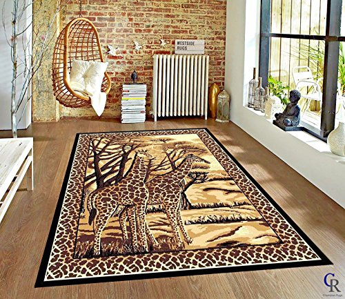 "Contemporary Safari Giraffe African Modern Carpet Area Rug (5' 3"" X 7' 5"")"