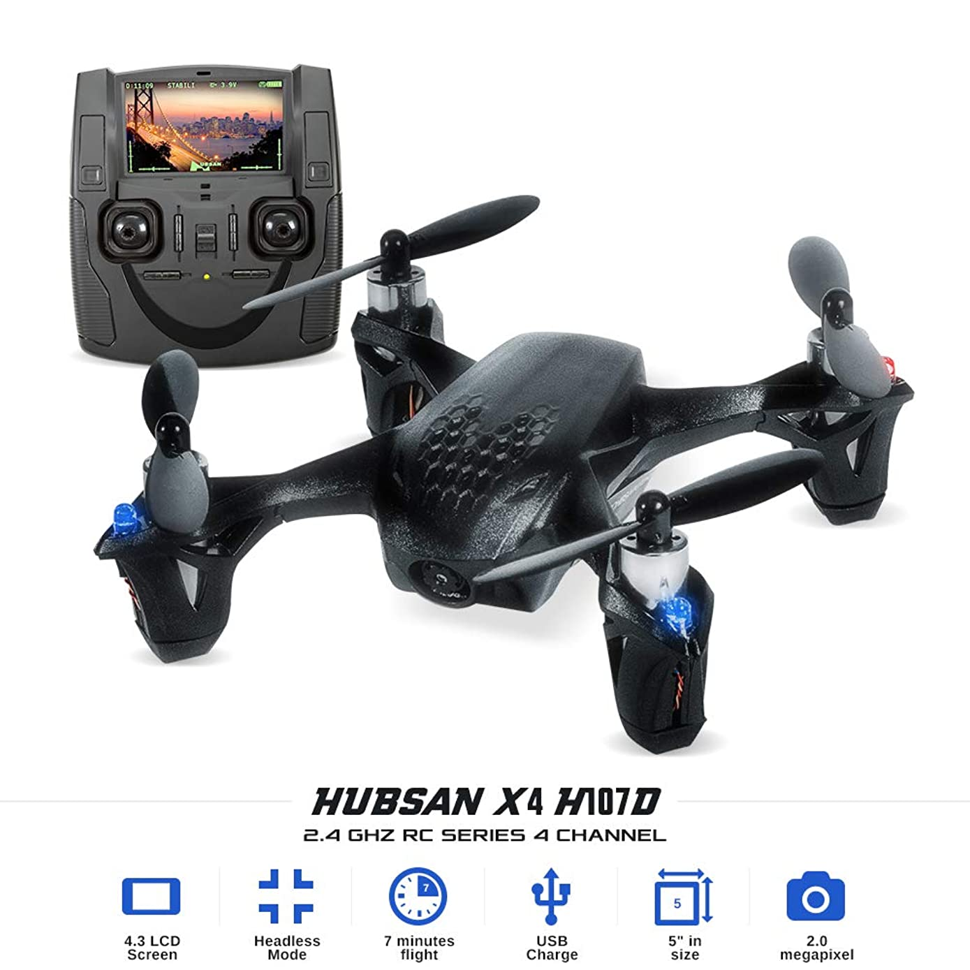 TEKSTRA HUBSAN X4 H107D Micro Quadcopter Drone for Kids & Adults, FPV HD 720P Camera Live Video, Altitude Hold, Headless Mode, Auto Take Off/Landing, Easy to Operate Beginners, Top Gifts for Teens.