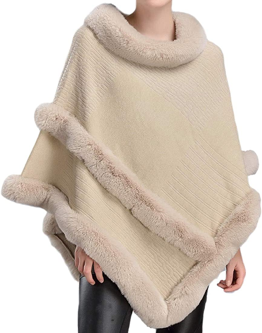 Helan Women's Round Neck Fashion Faux Fur Cloak Cape Coat Fur Shawl Fur Wrap