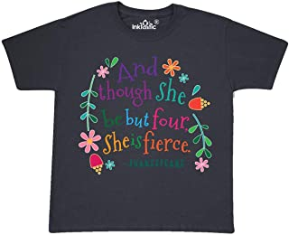 inktastic 4th Birthday She is Fierce 4 Year Old Girl Youth T-Shirt