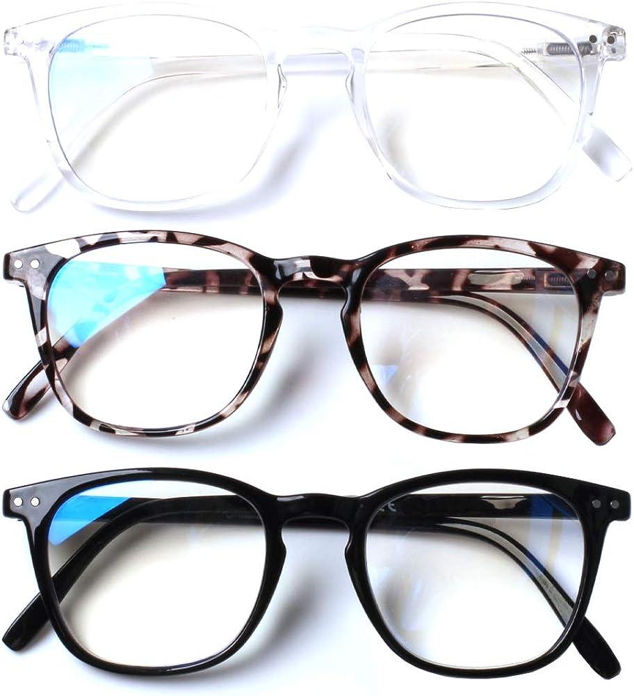 Henotin 3-Pack Blue Light Blocking Reading Glasses,Spring Hinge Computer Readers for Men Women,Anti UV Ray Filter Eyeglasses