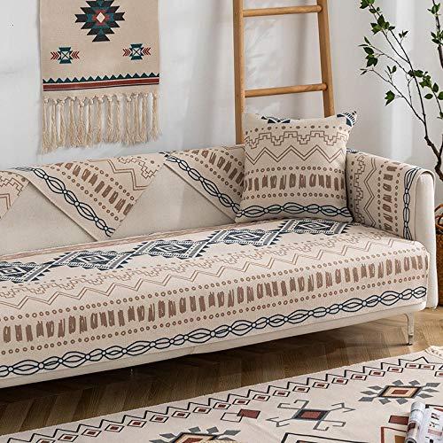 Cubierta de sofá de decoración Bohemia para 2/3/4 plazas,coberturas de Protector de sofá Boho,Arte étnico Tejido de Textura de Textura-D_85 * 180cm
