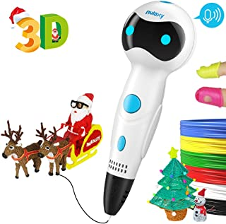 Nulaxy 3D Pen, First Robot 3D Drawing Printing Printer Pen with Voice Prompts PLA Filament Refills Automatic Feeding, Best Birthday Holiday Christmas Gifts Toys to Inspire Kids Teens Creativity White