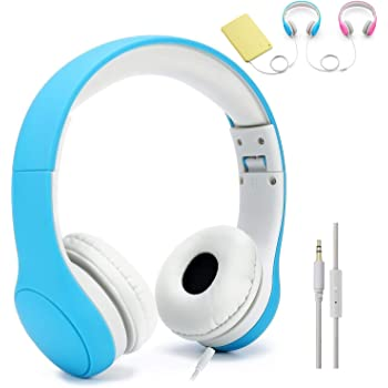 [Volume Limited] KPTEC Kids Safety Foldable On-Ear Headphones with Mic, Volume Controlled at Max 93dB to Prevent Noise-induced Hearing Loss (NIHL), Passive Noise Reduction, Wired Earbuds,Blue