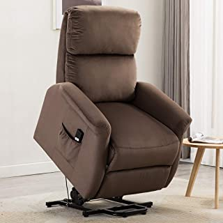 Bonzy Home Power Lift Recliner Chair, 3 Position & Side Pocket, Soft Fabric Sofa with Remote, Lift Chair for Elderly, Recliner Chair for Home Theater Seating, Living Room & Bed Room (Brown)