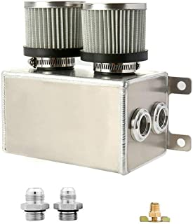Soosee 1.2L Twin Baffle Dual Filter Engine AN8 Oil Catch Can Tank Reservoir (Silver) (1.2L-Silver)