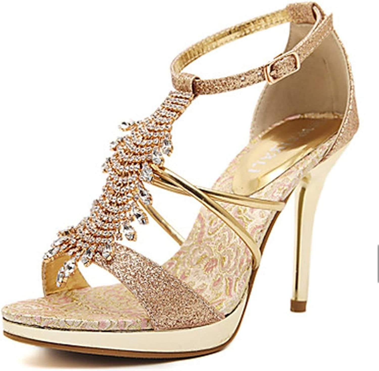 Lh yu Women Sandals Women's Sandals Summer Comfort Ankle Strap Club shoes PU Wedding Dress Party & Evening Stiletto Heel Rhinestone Buckle Tassel gold Walking