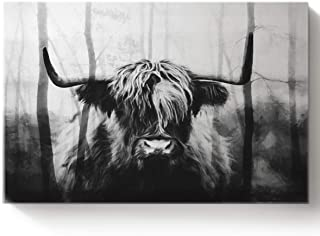 Arts Language DIY Oil Paintings Paint by Numbers Kit with Brushes for Adults/Kids Beginner Double Exposure Black and White Woodland Cow Acrylic Paints on Canvas Wooden Framed Wall Art 16x20in