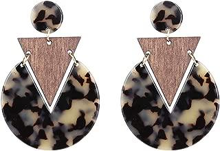 Handmade Tortoiseshell triangle Wood Acrylic Earrings For Women