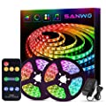 Sanwo Led Strip Lights Music Sync, 32.8 Feet Dream Color LED Light Built-in IC, RGB 300Leds Flexible Strip Lighting with Remote, Color Changing Led Strip Chasing Effect for Home Kitchen