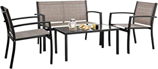 Devoko 4 Pieces Patio Furniture Set Outdoor Garden Patio Conversation Sets Poolside Lawn Chairs with Glass Coffee Table Porch Furniture (Brown)