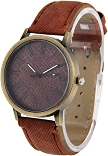 Lanbinxiang@ Denim Texture Style Round dial Retro Digital Display Women's and Men's Quartz Watch with PU Leather Strap Fashion (Color : Brown)