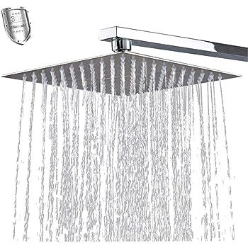Regendusche Kopfbrause Duschkopf 40 x 40cm Edelstahl Wasserfall Dusche Kopf Gro/ße Platz Duschkopf mit Chrom-Finish Edelstahl Regendusche