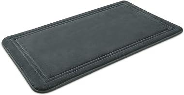 ITSOFT Memory Foam Bath Mat Non Slip Absorbent Super Cozy Velvet Bathroom Rug Carpet, Machine Washable, 31 x 20 Inches Charco