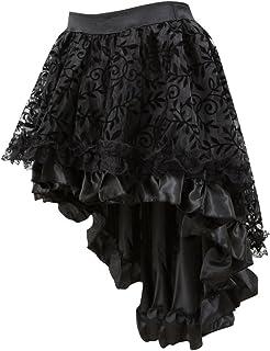 TOTAMALA Womens Gothic Floral Lace High Waist Novelty Corset High Plus Mesh Irregular Skirt
