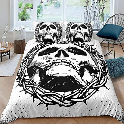 Bcooseso Black white halloween gothic hip hop rock Duvet Cover Set - Duvet Cover and Pillowcase, Microfibre, 3D Digital Print Three-Part Bed Linen Set, Super King size 260 x 230 cm